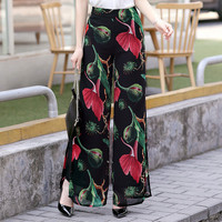 Summer new Women long chiffon flowers printed Trouser fashion full length floral wide leg pants high quality