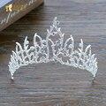 Классический Хрустальная корона rhinestone тиары невесты hairband серебряный цвет волос ювелирные изделия princess crown мода свадебные аксессуары pq079