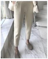 WISHBOP крем трикотажные укороченные шаровары эластичный пояс спереди большие карманы модные блоггеры брюки для девочек 2018 осень зим