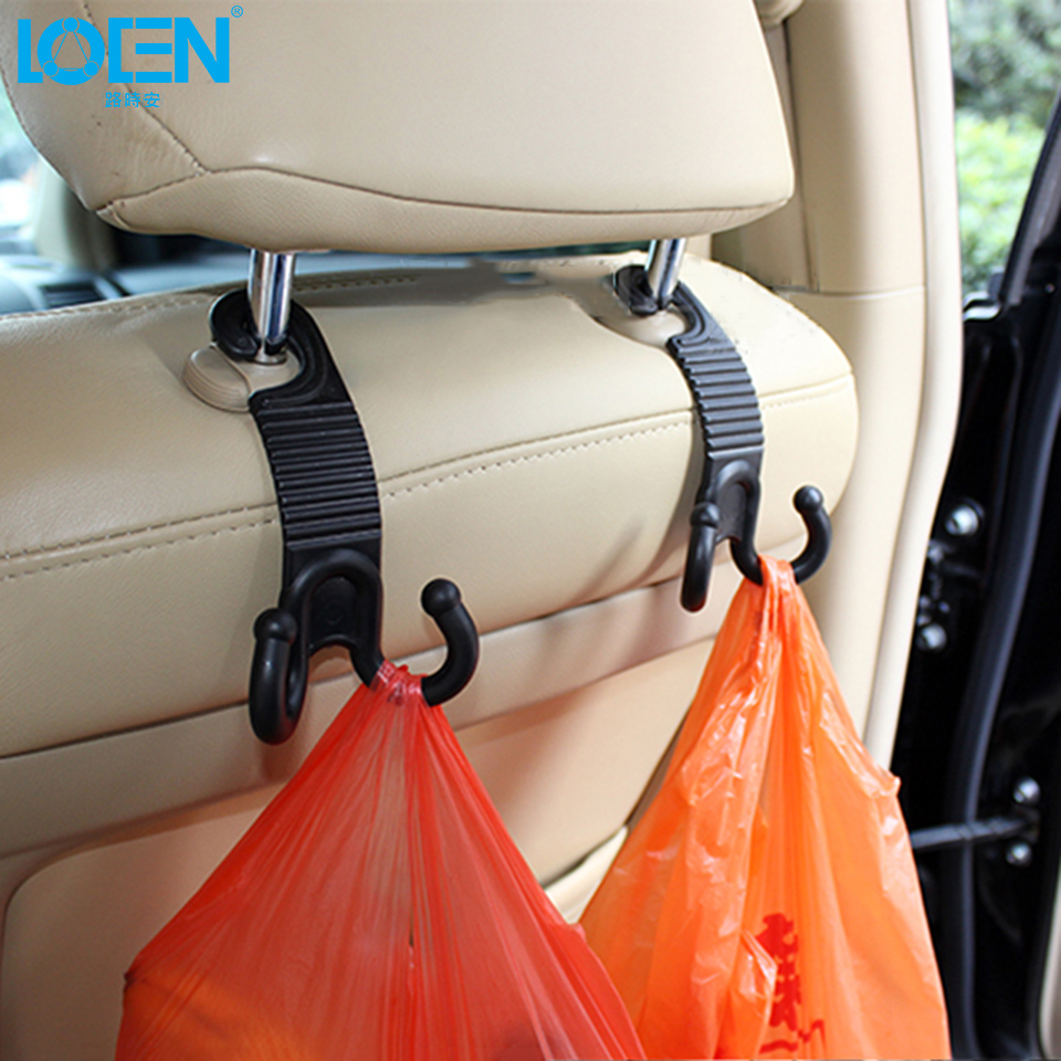1 Paar Auto Fastener & Clip Innen Kopfstütze Hanger Schwarz Auto Sitz Zurück Organizer Haken Halter Für Geldbörse Handtasche Tasche Auto-styling
