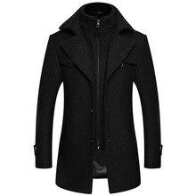 Зимнее Новое плотное разноцветное шерстяное пальто для мужчин