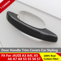Car styling For Audi Carbon Fiber Auto Door Handle Knob Exterior Trim Covers for Audi A1 A3 A4 A4L A5 A6 A6L A7 A8 2015 2016