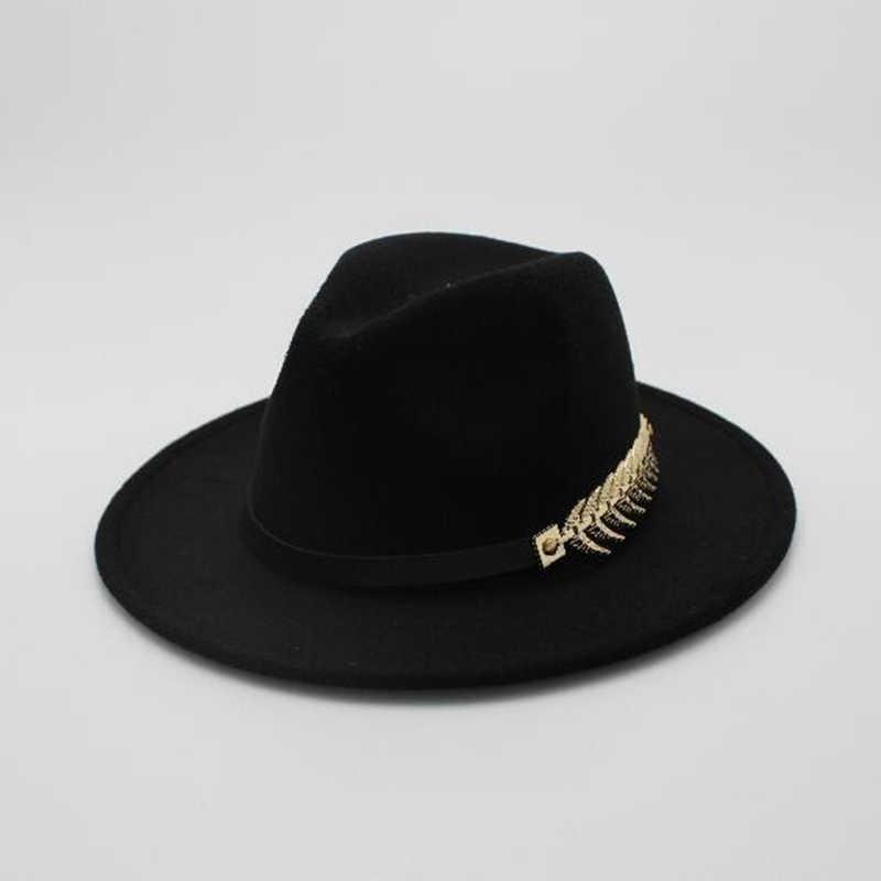 930779e29d4 ... Special Felt Hat Men Fedora Hats with Belt Women Vintage Trilby Caps  Wool Fedora Warm Jazz ...