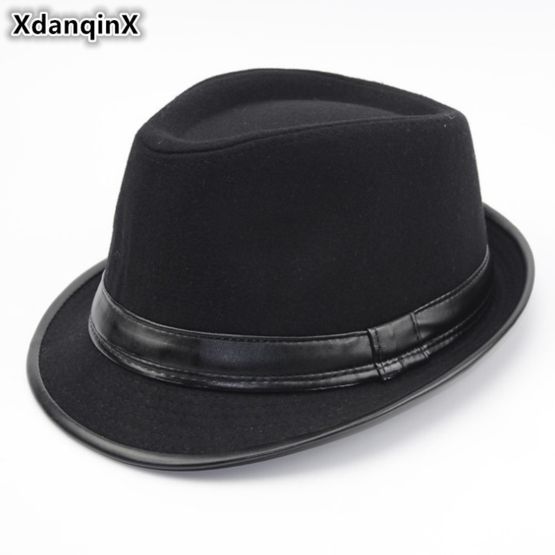 XdanqinX Adult Men 39 s Hat Wool Warm Fedoras Hats For Men British Fashion Style Middle Aged Jazz Hat 2019 New Spring Dad 39 s Cap in Men 39 s Fedoras from Apparel Accessories