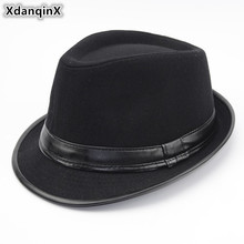 XdanqinX Adult Mens Hat Wool Warm Fedoras Hats For Men British Fashion Style Middle Aged Jazz 2019 New Spring Dads Cap
