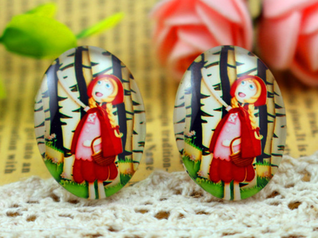 10pcs 18x25mm Handmade Forest Red Hair Girl Photo Glass Cabochons Evident Effect h6-12