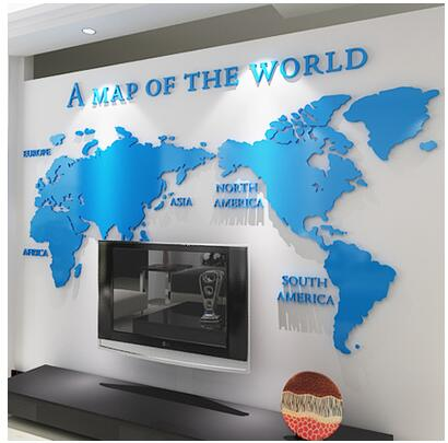 DIY 3D Acrylic Wall Sticker Wallpaper of World Map for Office Living room decor