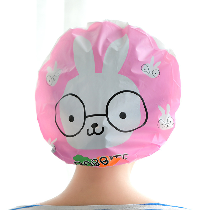 1PC Cute Resuable Shower Caps Adult Waterproof Shower Cap Cartoon Bath Hair Caps for Adults Women Kids Protective Bathing Caps in Shower Caps from Home Garden