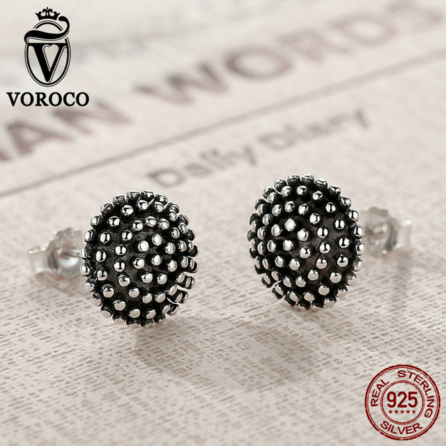 VOROCO Dark Light 925 Sterling Silver Entry Luxe Black and  Polish Vintage Round Stud Earring Unisex  Women &Man Fine Jewelry 1