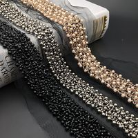 1Yard noir Champagne perle perlée dentelle garniture col rubans dentelle africaine couture matériaux artisanat pour vêtements robe de mariée
