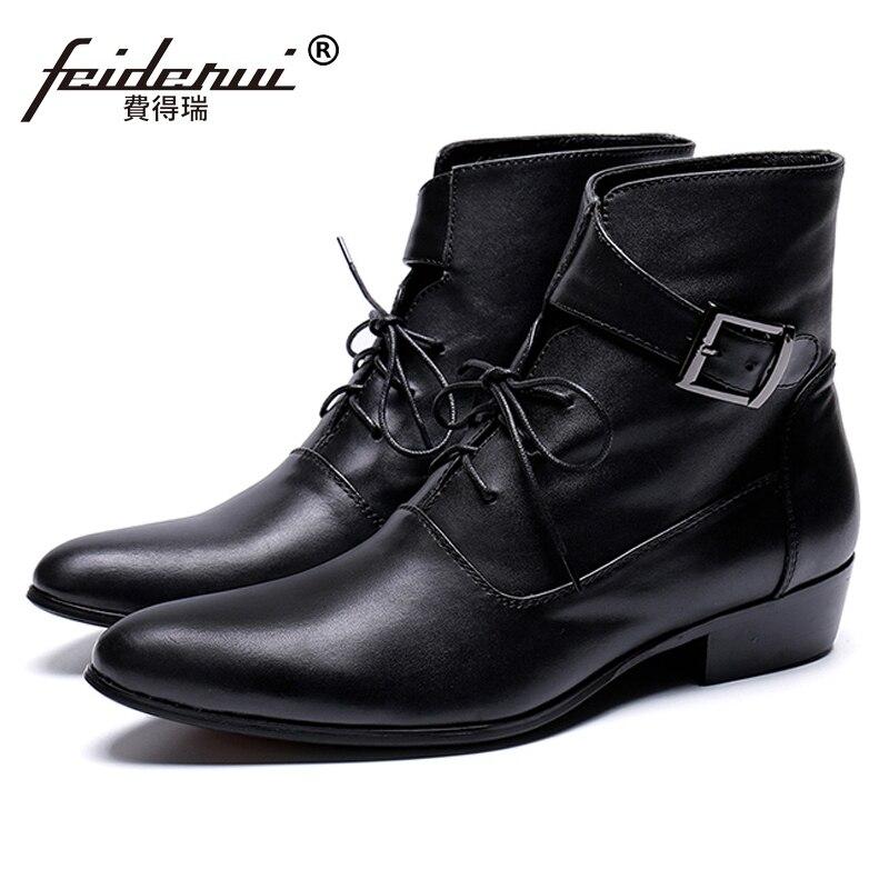 Итальянский Стиль острый носок Туфли с ремешком и пряжкой человек Панк Рокер Обувь ручной работы из натуральной кожи Для мужчин ковбойские