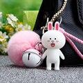 Животное Кролик Брелок Кожа Веревка Брелок Пушистый Мех Кролика мяч Помпон Брелок Меховые Помпоны Брелок Колокол Меха Pom Pom брелок