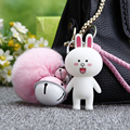 Animal Bunny Keychain Leather Rope Key Ring Fluffy Rabbit Fur Ball Pompom Keychain Fur Pompons Keyring Bell Fur Pom Pom Keychain