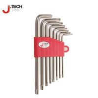 Jetech 8pcs L shape tamper proof star torx key set kits T9 T10 T15 T20 T25 T27 T30 T40 with hole car repair tools chrome plated