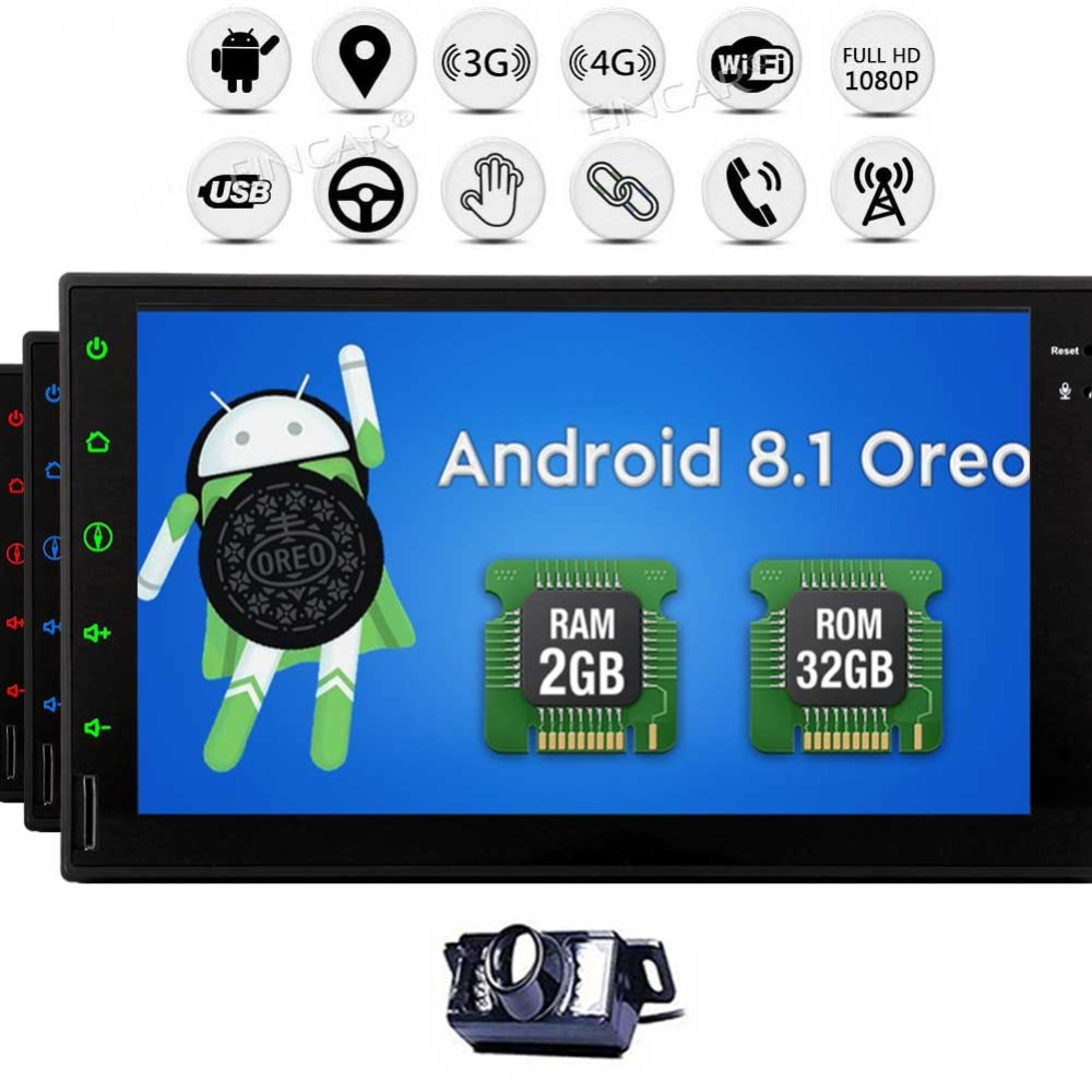 Double Din In Dash Car Radio Video Player Bluetooth Wifi SWC Mirror Link GPS Navigation Eincar 7 Inch Car Stereo Android 8.1 2GB