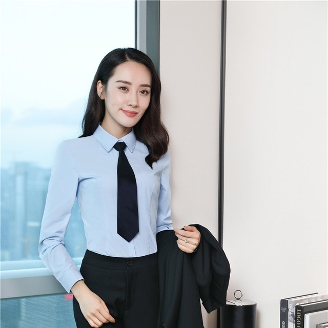 667a98e0686 Fashion Light Blue Spring Fall Long Sleeve Blouses   Shirts For Ladies  Office Uniform Styles Blouse Female Clothes Tops With Tie