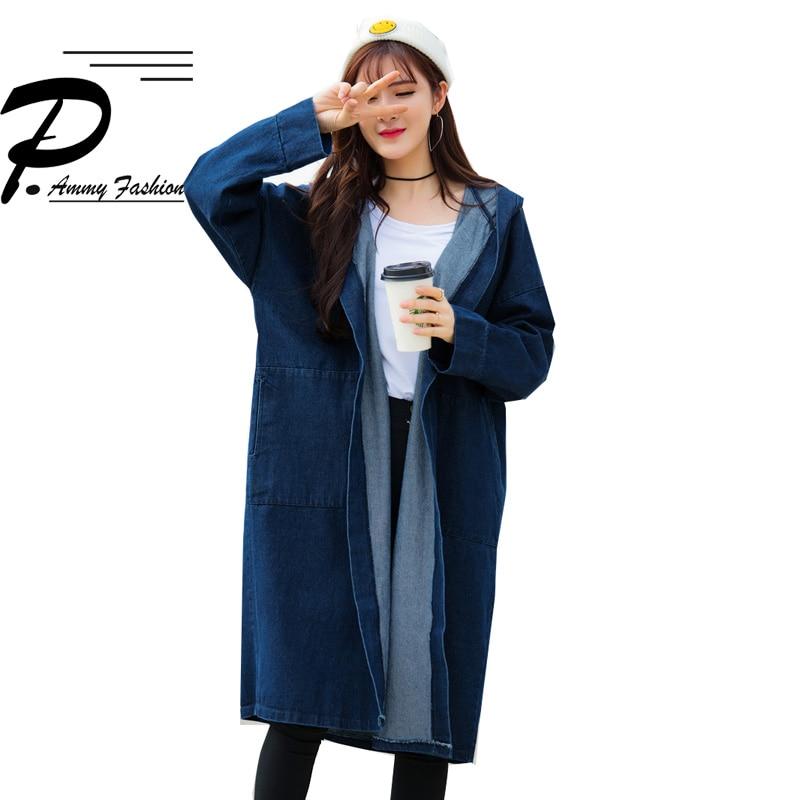 Fashion Hooded Plus Size Mid Long Denim Coat Ladies Womens Casual Long Sleeve Hoodies -5223
