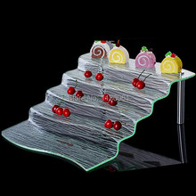 Five Tier Acrylic Wedding Cake Plastic Stainless Buffet Cupcake Party Stand for Bread Fruit Shelf Holder Display Bolo Prateleira