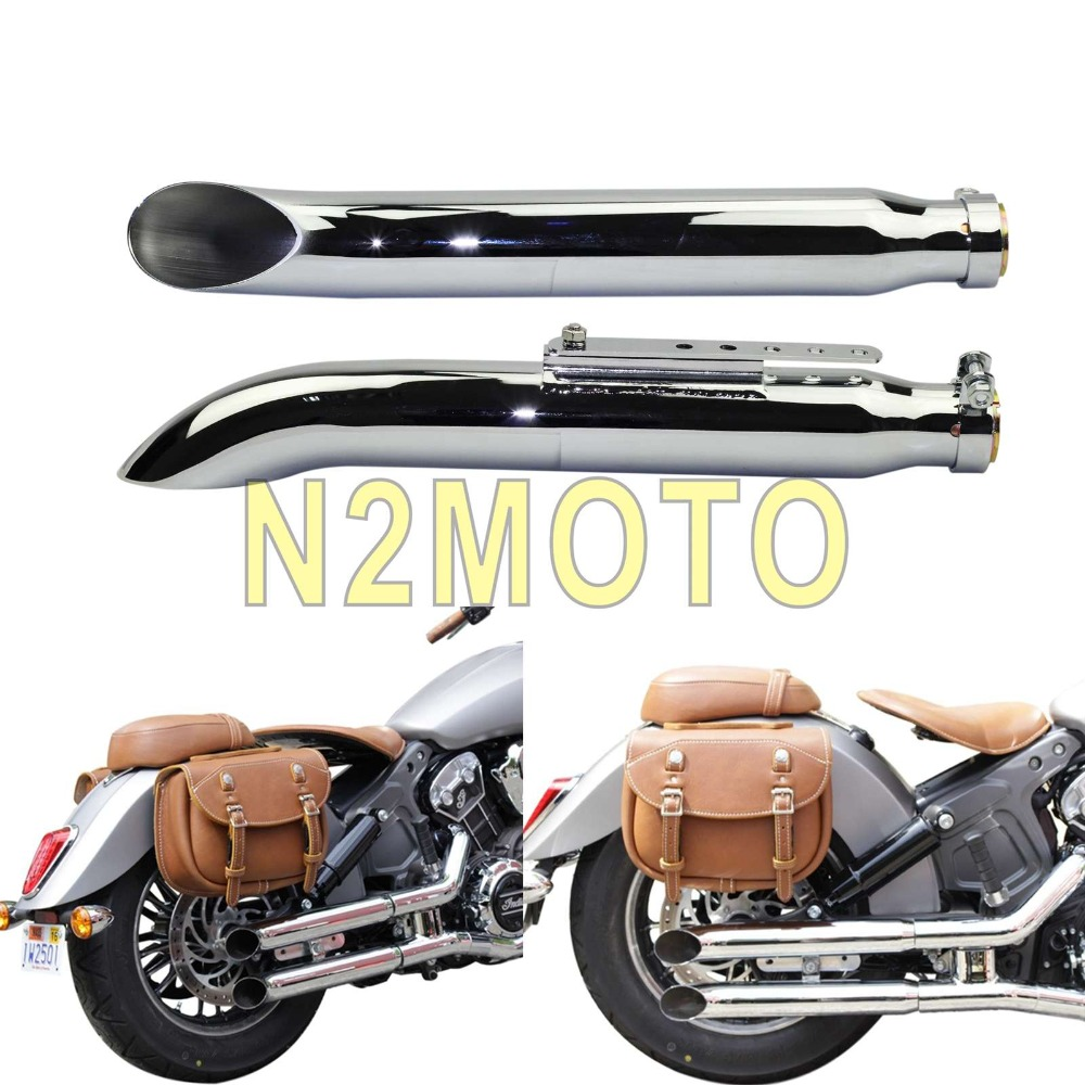 Chrome 1 Pair Motorcycles Slash Cut Exhaust Muffler Pipe for 1 3 8 1 1 2