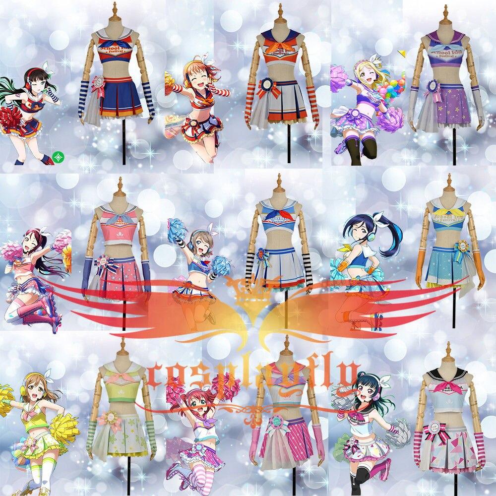 LoveLive!SunShine!! Aqours Hanamaru Kanan Ruby Yoshiko Riko Chika Dia Watanabe Mari Cheerleaders Awakening Cosplay Costume Stock
