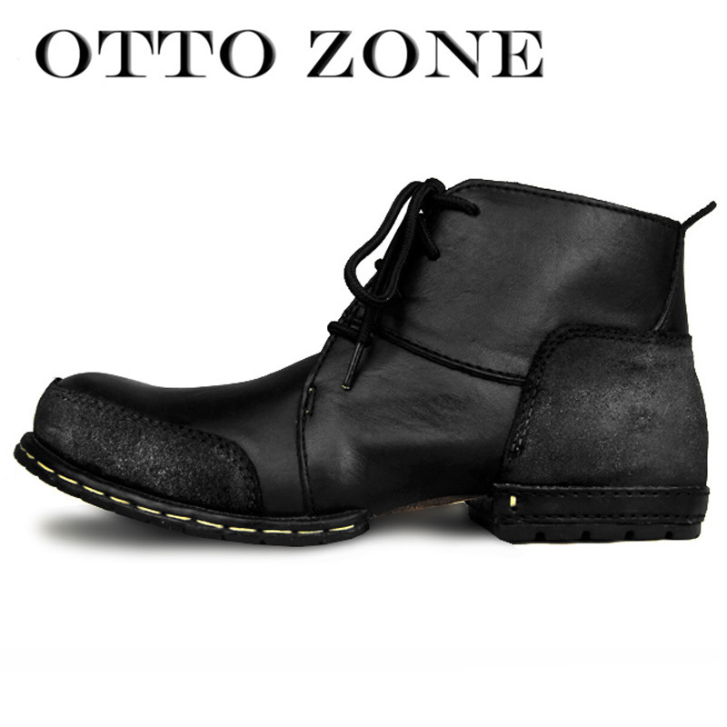 sale retailer 7c685 27917 US $75.32 19% OFF|OTTO ZONE Mode Schuhe Stiefel Echte Kuh Leder  Stiefeletten Herbst/Winter Baumwolle Gepolsterte Leder Schuhe Niet Schuhe  EU 39 46 in ...