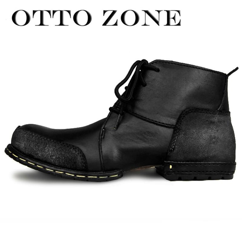 sale retailer 08d9d 1126f US $75.32 19% OFF|OTTO ZONE Mode Schuhe Stiefel Echte Kuh Leder  Stiefeletten Herbst/Winter Baumwolle Gepolsterte Leder Schuhe Niet Schuhe  EU 39 46 in ...