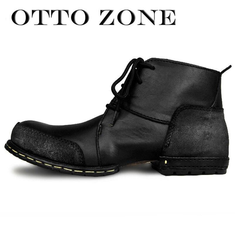 innovative design b1d0f bd551 US $74.39 20% di SCONTO|OTTO ZONE di Modo Scarpe Stivali Genuino Della  Mucca di Cuoio Della Caviglia Stivali Autunno/Inverno di Cotone Imbottito  ...