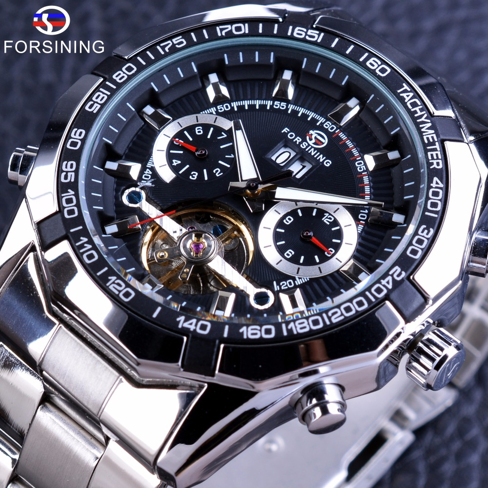Forsining Automatic Military Wrist Watch Tourbillion Watch Calendar Display Silver Stainless Steel Mens Watches Top Brand Luxury forsining navigator series tourbillion date display black silver watch top brand luxury male automatic mechanica wrist watches