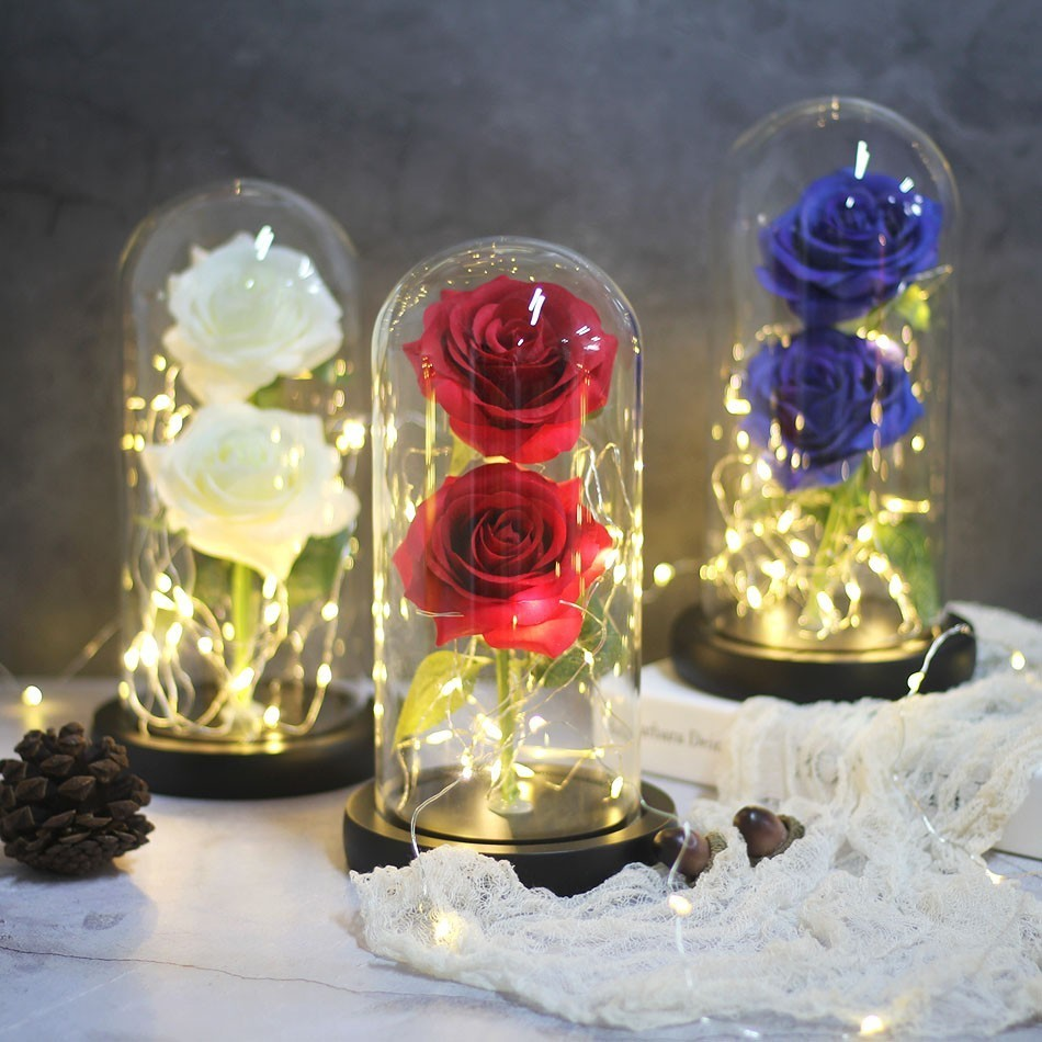 Image 2 - Dropping Rose Light Bottle In Jar Desk Night Light Beauty And The Beast Romantic Gift Bedside Wooden Desk Lamp Romantic Valentin-in LED Night Lights from Lights & Lighting
