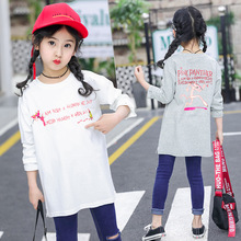 Girls T-shirt spring and autumn new cartoon letter round neck bottoming shirt cotton long-sleeved children's clothing 2017 autumn new born baby girls clothing sets infant long sleeved letter cotton t shirt