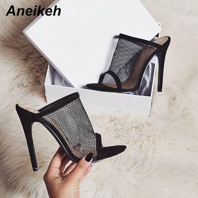 Aneikeh verano sandalias de Punta abierta de las mujeres toboganes de mula de malla de agujero de hueco zapatos de tacones altos de Clubwear Zapatos negro
