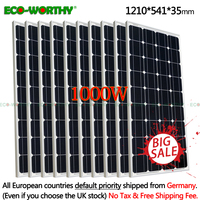 ЕС 1KW 10 шт. 100 Вт панели солнечные 18 в монокристаллический панели солнечных батарей для 12 Батарея система Off Grid 1000 s системы