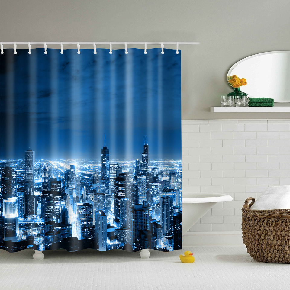 Dark knight shower curtain - High Rise Building Printed Polyester Waterproof Shower Curtain Include 12 Pcs Hooks 180
