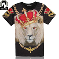 Top Hot ! Black rock Cool King Lion print 3d t shirt men's t-shirt short sleeve crown printed good quality casual tee shirt tops