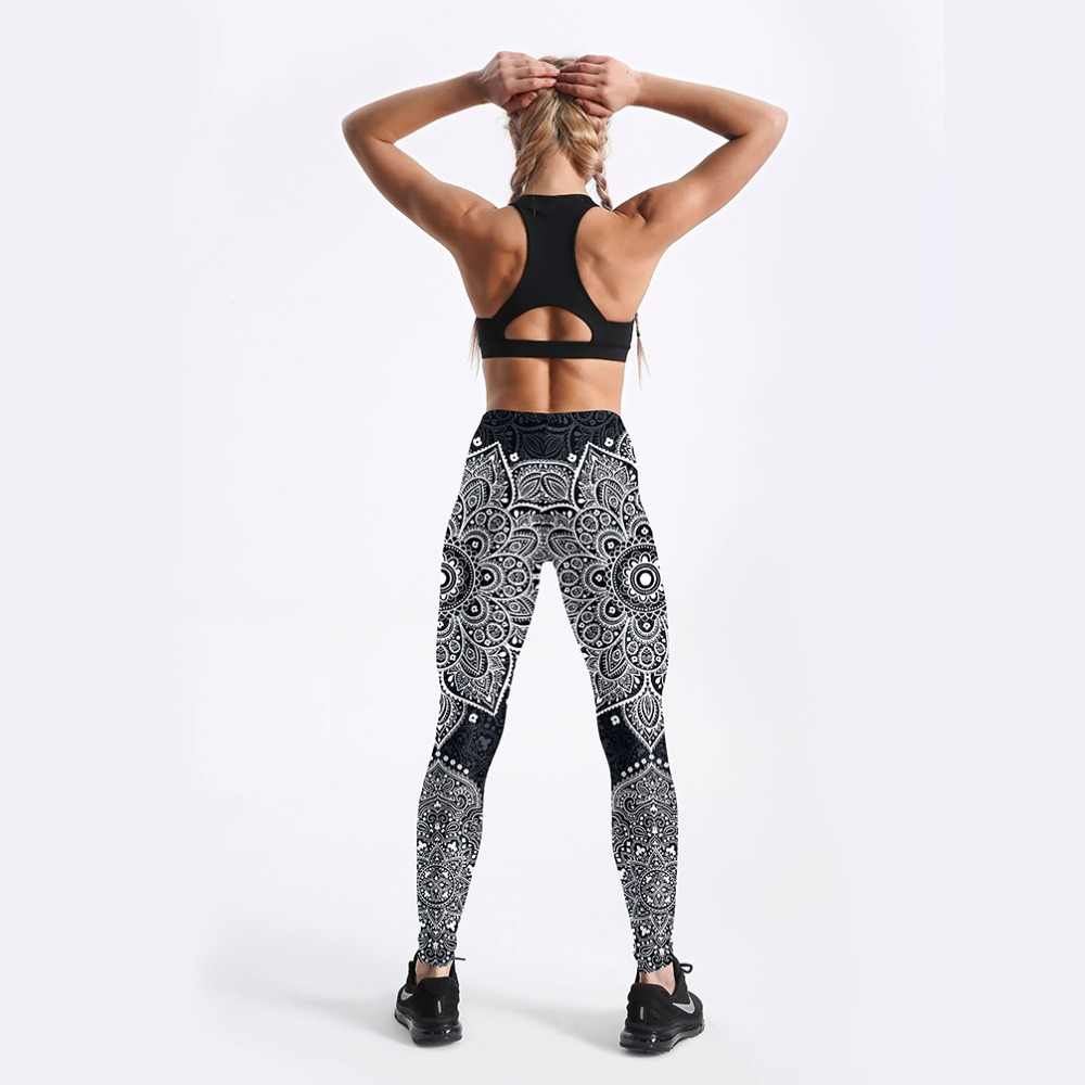 Novo 4104 Sexy Girl Lápis Pant Asteca Rodada Mandala Floral Impresso Elastic Magro Treino de Fitness Empurrar Para Cima As Mulheres Leggings Mais tamanho
