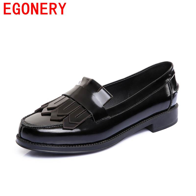 Egonery women shoes neutral wide tassel genuine leather fashion wearproof comfortable round toe manual campus spring