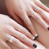7pcs Set 925 Sterling Silver Midi Rings For Women Adjustable Knuckle Ring Triangle Five Stars Love