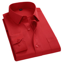 2021 New Men Business Casual Long Sleeved Shirt For Male Solid Color Dress Shirts Slim Fit Chemise Homme Camisa Social Red 8XL