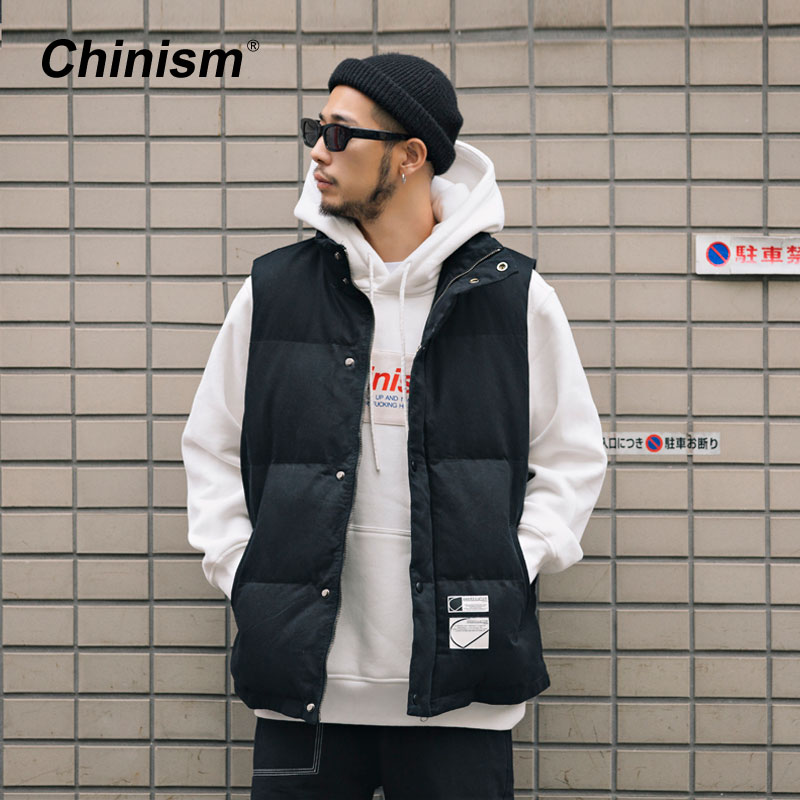 CHINISM 2018 Winter Basic Thicken Down Vest Male Loose Padded Jacket Men's Vest Coat Hip Hop Fashion Streetwear