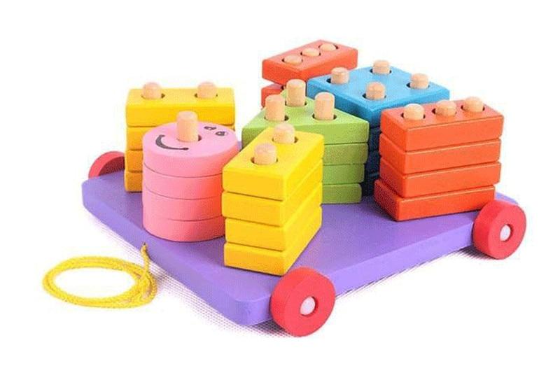 Jauna koka rotaļlieta Veidi traktori koka gredzeni koka bloki bērnu izglītojošs rotaļlieta Bezmaksas piegāde