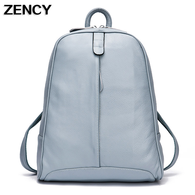 ZENCY Leather Backpack Designer Genuine Leather Women Backpacks Cowhide Backpacks Girls Schoolbags For Teenagers Black Pink Gray zency genuine leather backpacks female girls women backpack top layer cowhide school bag gray black pink purple black color