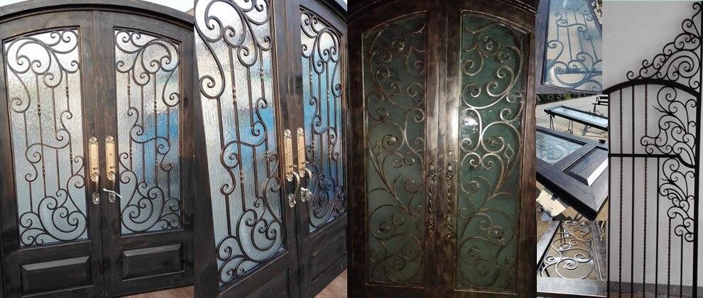 puertas de hierro de madera