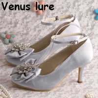 High Heel Silver Heel for Wedding Round Toe Bow Pumps with Ankle Strap