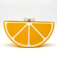 Las mujeres Bolso de Embragues de Las Mujeres Embrague Noche Bolsa de Mensajero Bolsas de Moda de Acrílico Fruta Naranja Paquete Día Monedero Del Embrague Del Partido