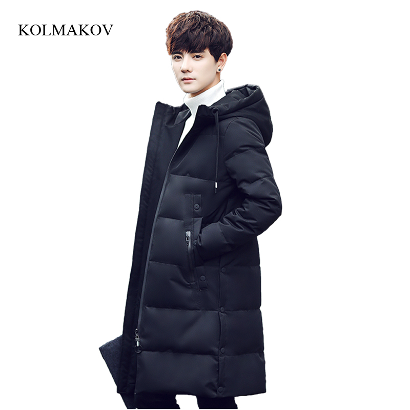 New arrival winter style men boutique long down coats fashion casual hooded zipper coat men's solid slim overcoat size M-3XL