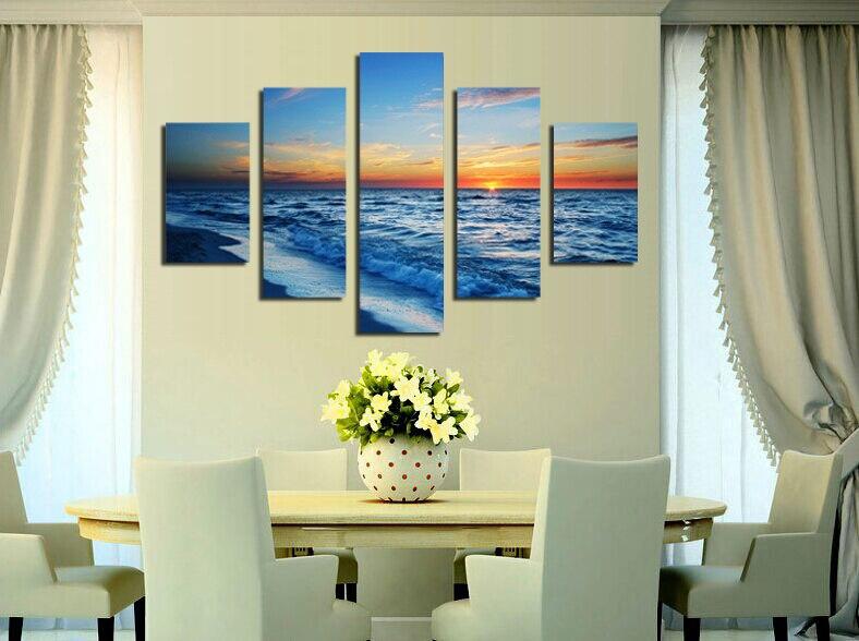 Seascape Sunrise Pictures Painting Canvas Wall Art for Home Obývací pokoj Ložnice Kancelář Dekorace Drop shipping
