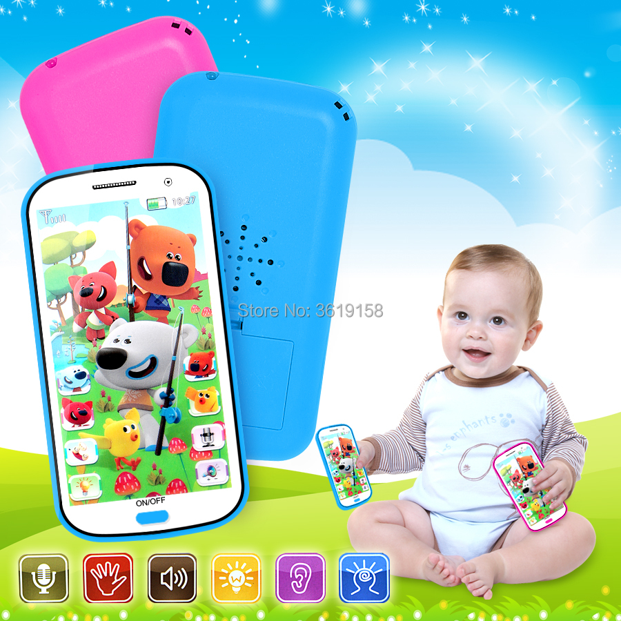 Russian Language 4D Cartoon Bears Anime Learning Mobile Phone Toy With Light,record And Song Story Machine Yphone For Baby Toy