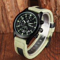 YISUYA Men Quartz Watches Hours Function Men S Sport Watch Luminous Dail Cool Green Canvas Band