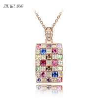 ZH KH ONG Luxury Square Gold Silver Color Pendant Necklace Fashion Embed High Quality Crystal And