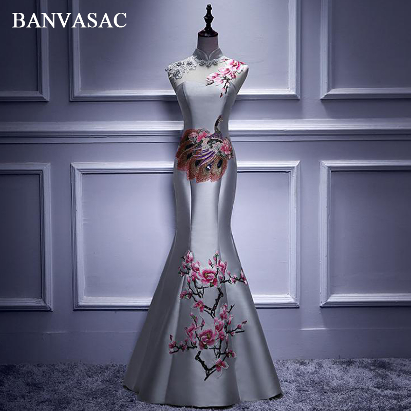 BANVASAC Flowers High Neck Lace Embroidery Mermaid Long   Evening     Dresses   2018 Vintage Satin Open Back Party Prom Gowns
